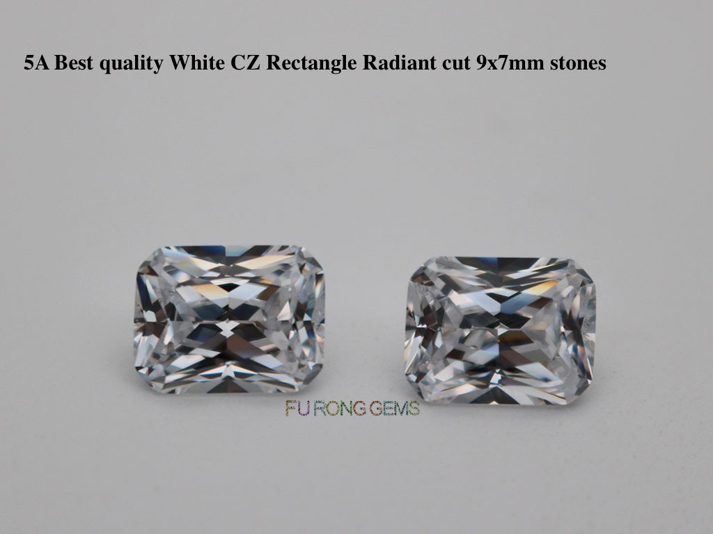 Loose-Cubic-Zirconia-Whie-Color-Rectangle-Radiant-cut-7x9mm-Gemstones