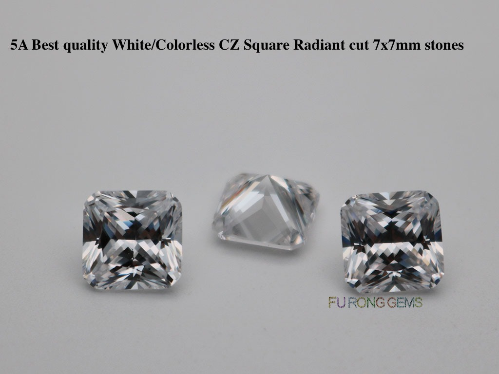 White-Color-Loose-Cubic-zirconia-AAAAA-Best-quality-Square-Radiant-cut-7x7mm-Gemstones-Supplier
