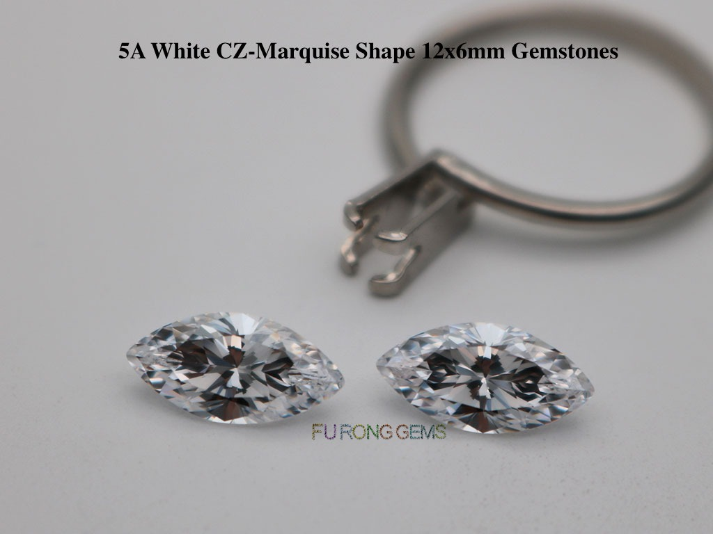 White-Cubic-zirconia-5A-Best-quality-marquise-Shape-12x6mm-Gemstones-factory