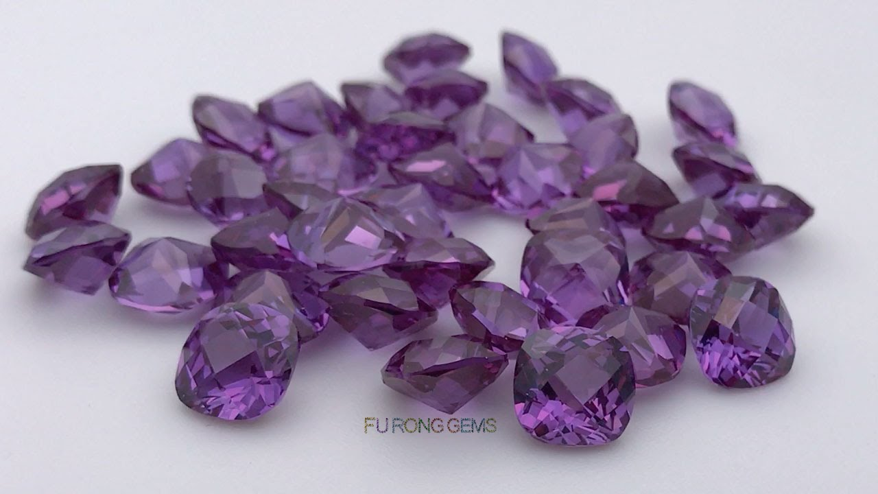 Synthetic-Alexandrite-color-change-cushion-checkerboard-cut-gemstones-Suppliers