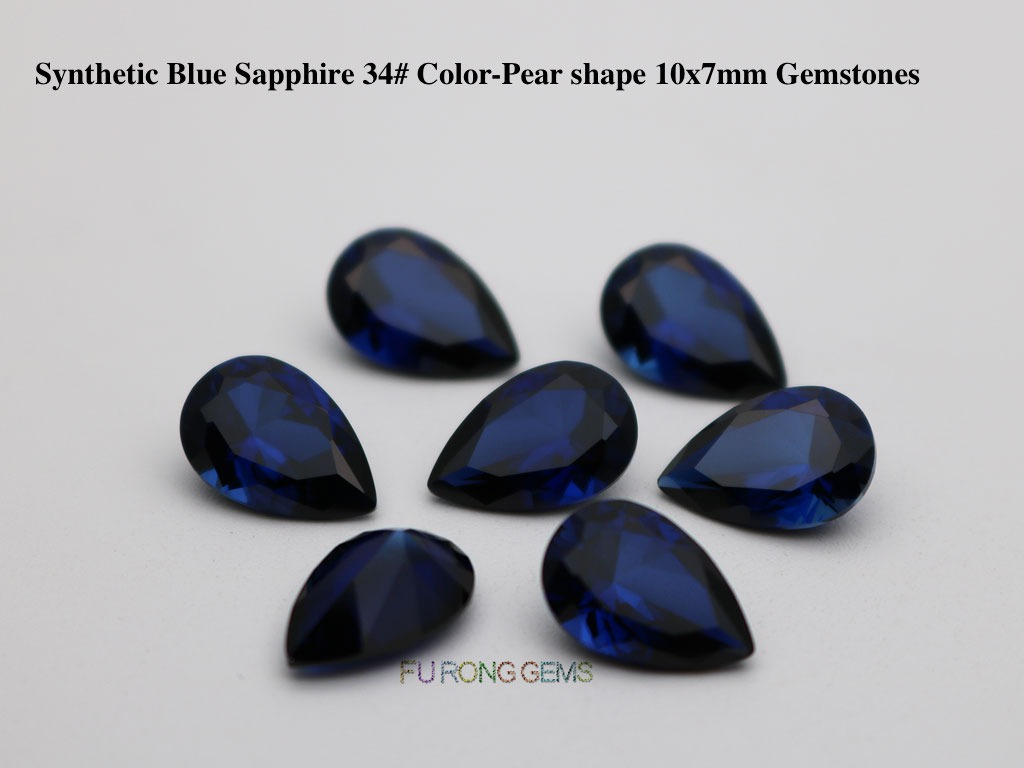 Synthetic-Sapphire-Blue-Corundum-34#-Pear-Shape-10x7mm-Gemstones-Wholesale