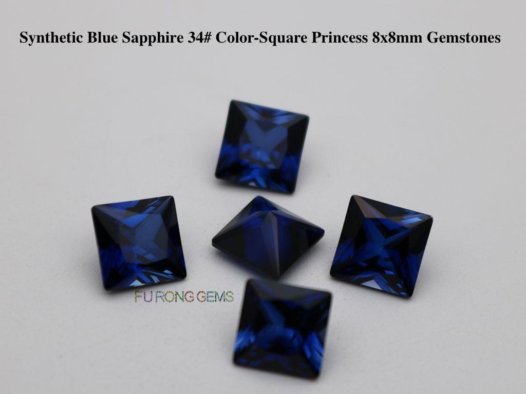 Synthetic-Sapphire-Blue-Corundum-34#-Square-Princess-8x8mm-Gemstones-Suppliers