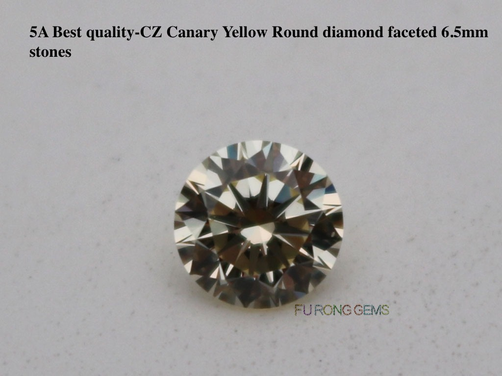 6.5mm-1-carat-round-diamond-faceted-Canary-Yellow-Color-Cubic-Zirconia-Gemstones-wholesale