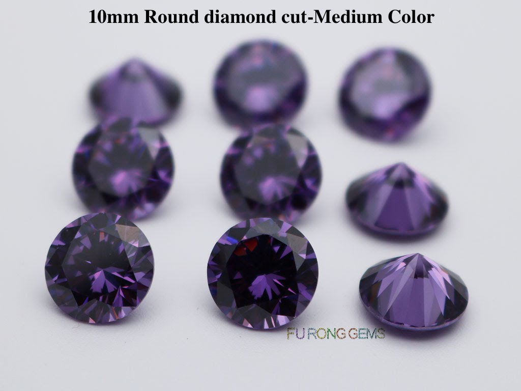 Amethyst-Color-Cubic-Zirconia-Round-diamond-cut-in-10mm-for-sale