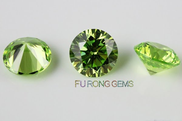 Apple-Green-Colored-Cubic-Zirconia-Round-Gemstones-China-Wholesale