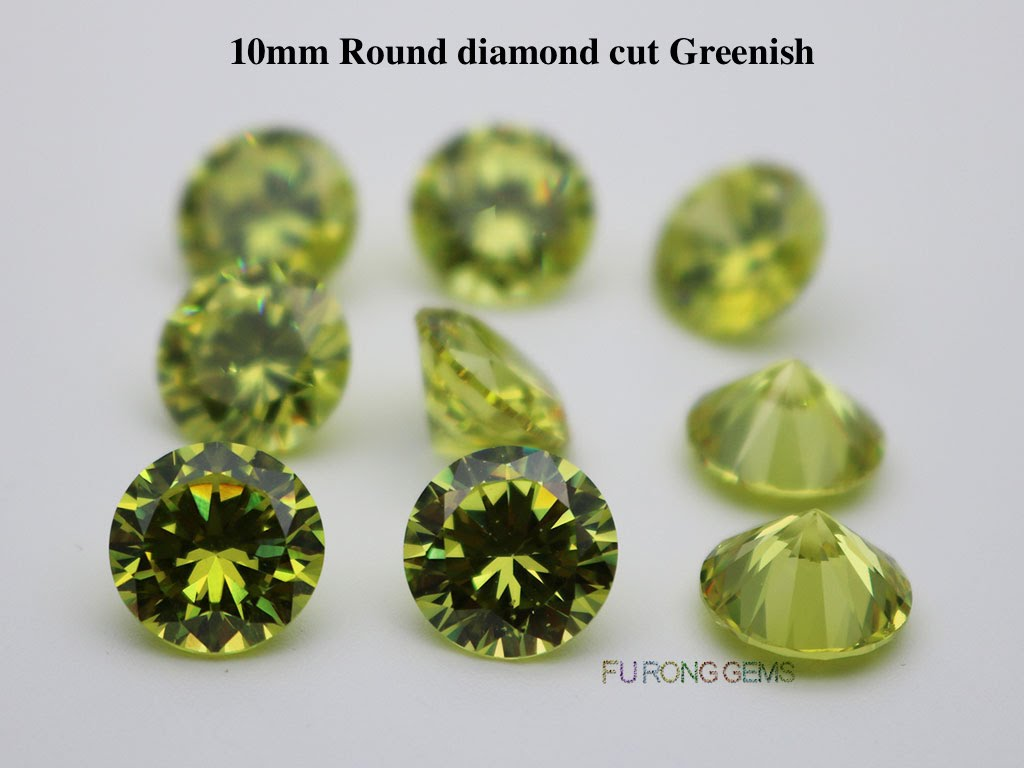 Apple-Green-Greenish-Color-Cubic-Zirconia-Round-diamond-cut-10mm-gemstones-for-sale
