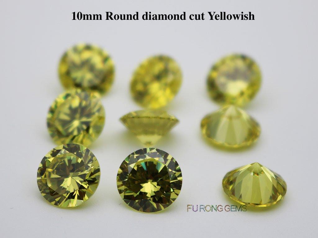 Apple-Green-yellowish-Color-Cubic-Zirconia-Round-diamond-cut-10mm-gemstones-wholesale