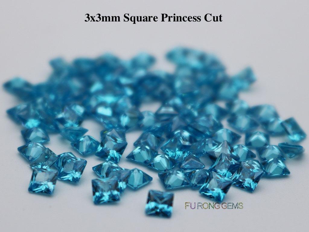Aqua-Blue-Loose-Cubic-Zirconia-Square-shape-3x3mm-gemstones-wholesale