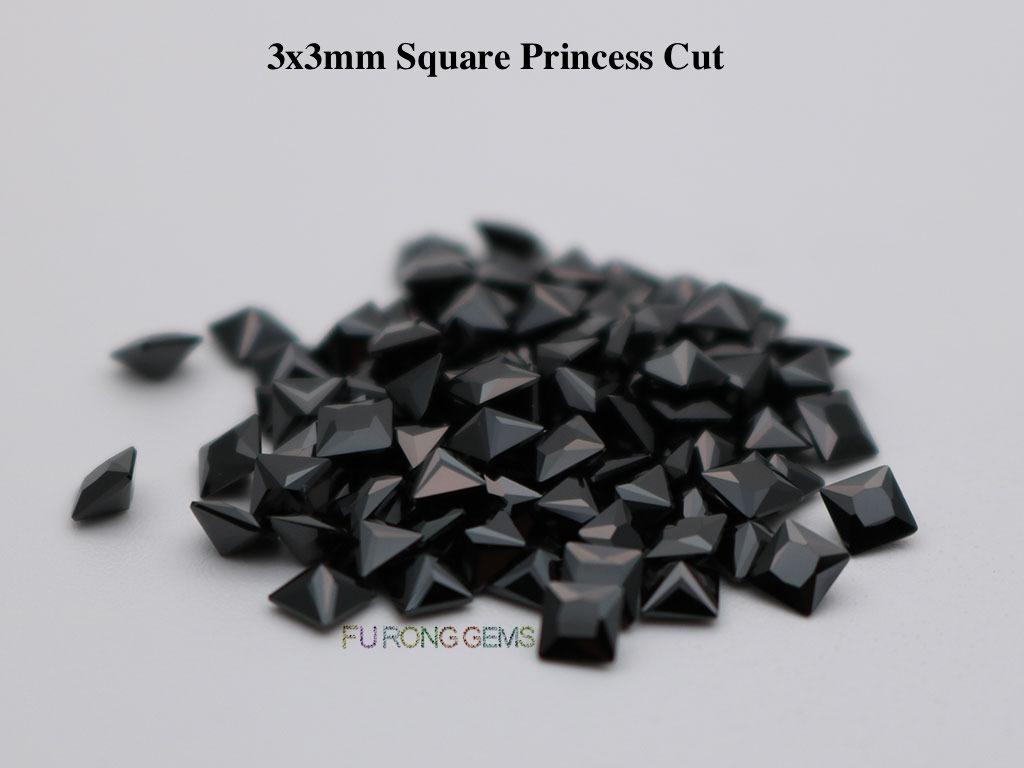 Black-Color-Loose-Cubic-Zirconia-Square-Princess-3x3mm-Gemstone-for-sale