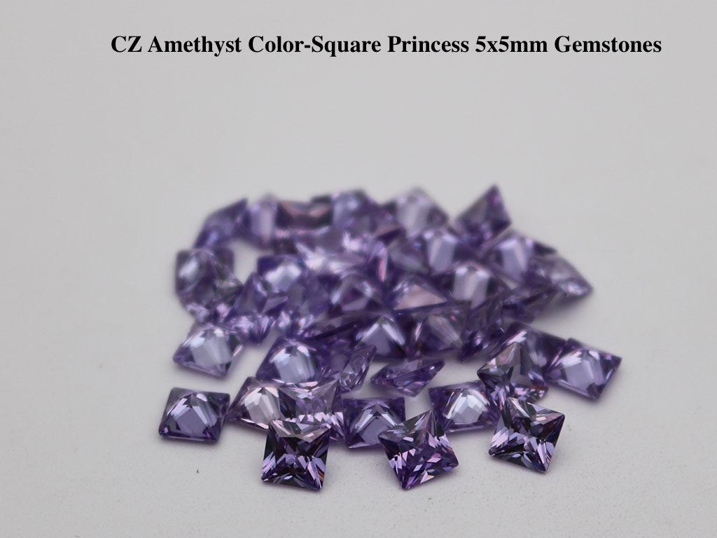 CZ-Amethyst-Square-Princess-5x5mm-Gemstones-wholesale