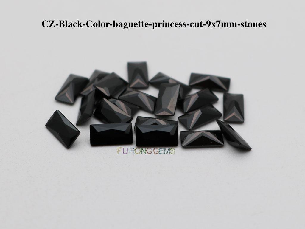 CZ-Black-Color-baguette-princess-cut-9X7mm-stones