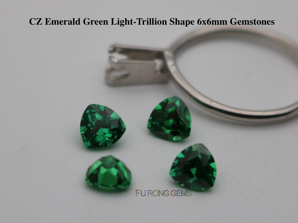 CZ-Emerald-Green-Color-Cubic-Zirconia-6x6mm-Trillion-shape-Gemstones-Wholesale