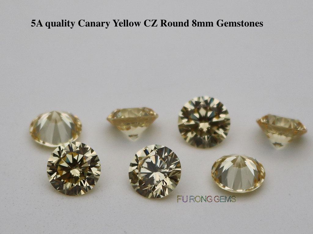 Canary-Yellow-CZ-cubic-zirconia-Round-diamond-brilliant-cut-8mm-Gemstones-wholesale