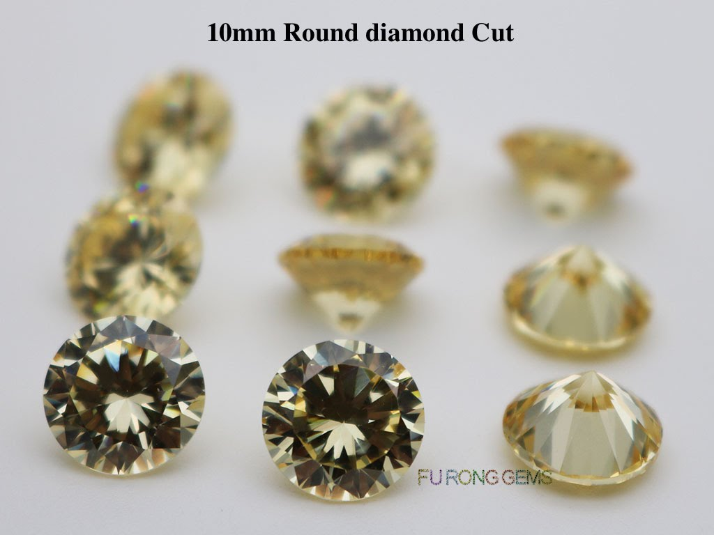Canary-Yellow-Color-Cubic-Zirconia-Round-diamond-cut-10mm-gemstones-for-sale
