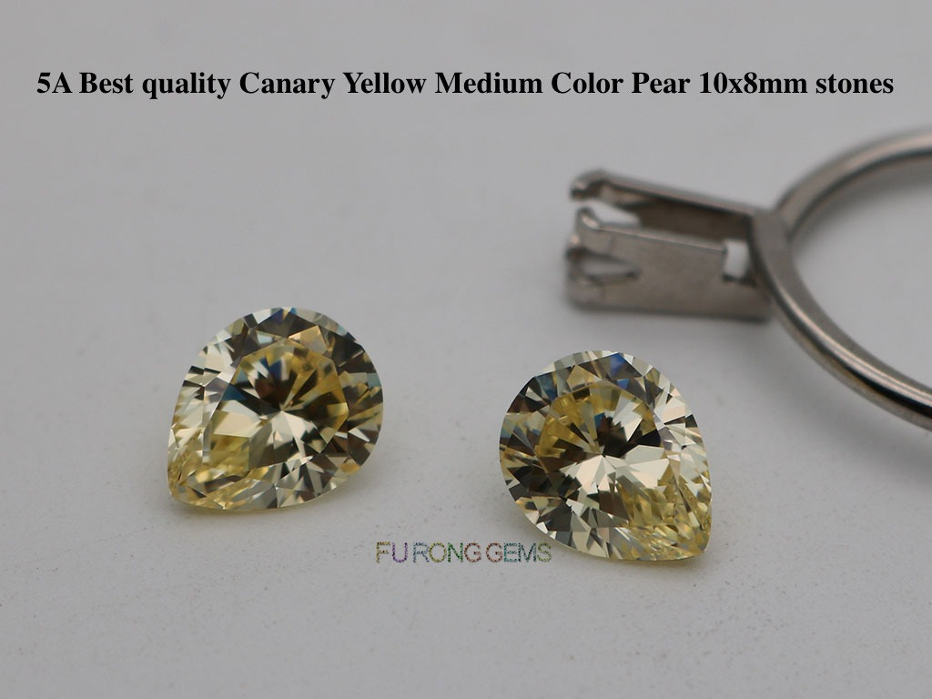 Canary-Yellow-Cubic-zirconia-5A-Best-quality-Pear-10x8mm-Gemstones-wholesale