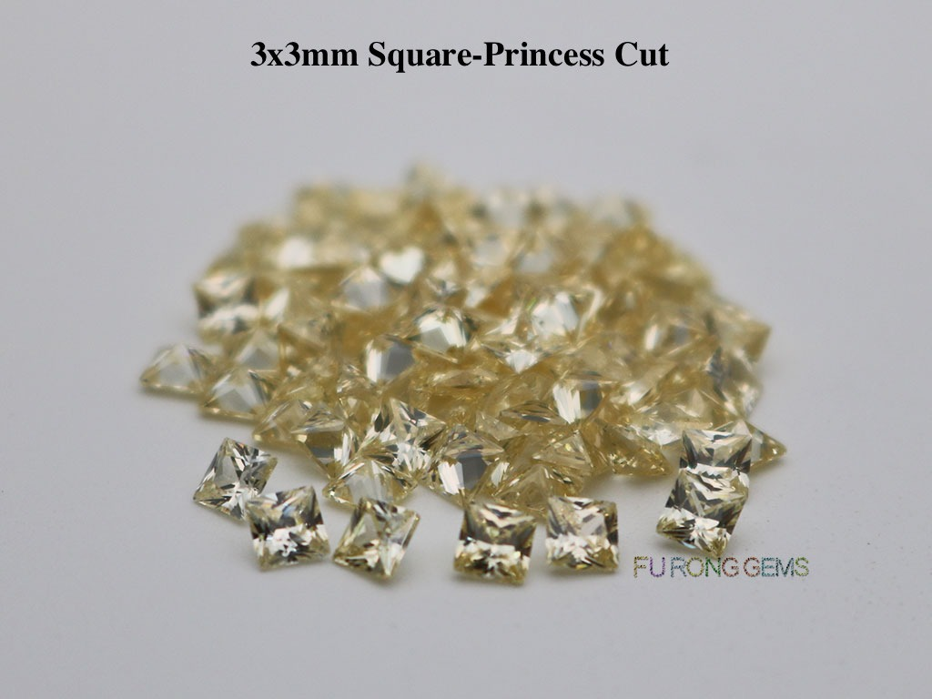 Canary-yellow-Cubic-Zirconia-Square-Princess-3x3mm-Gemstone-for-sale