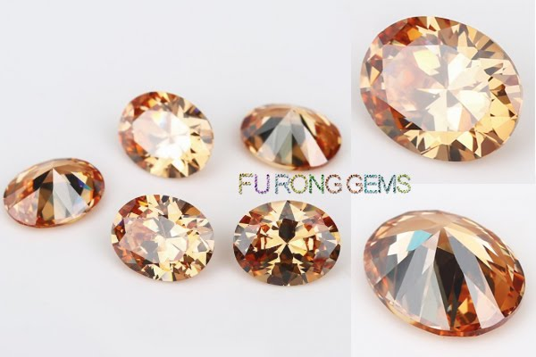 Champagne-Color-Cubic-Zirconia-Oval-shape-Gems-China-wholesale