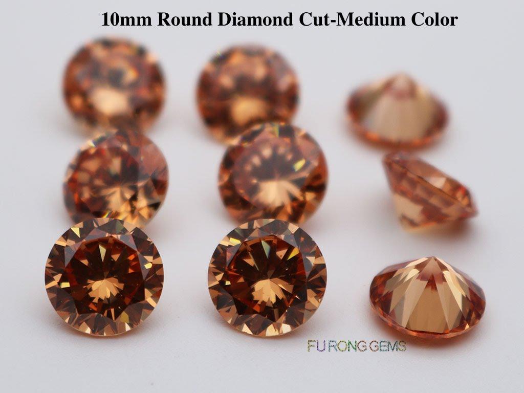 Champagne-Color-Cubic-Zirconia-Round-diamond-cut-10mm-gemstones-wholesale
