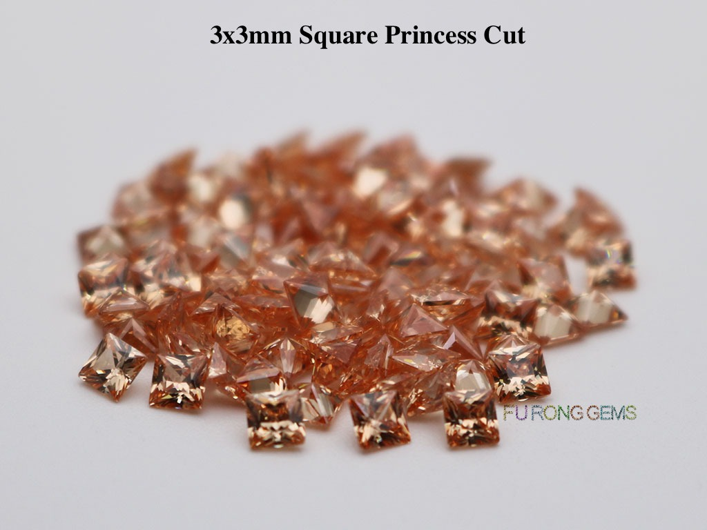 Champagne-Color-Cubic-Zirconia-Square-Princess-3x3mm-Gemstone-for-sale