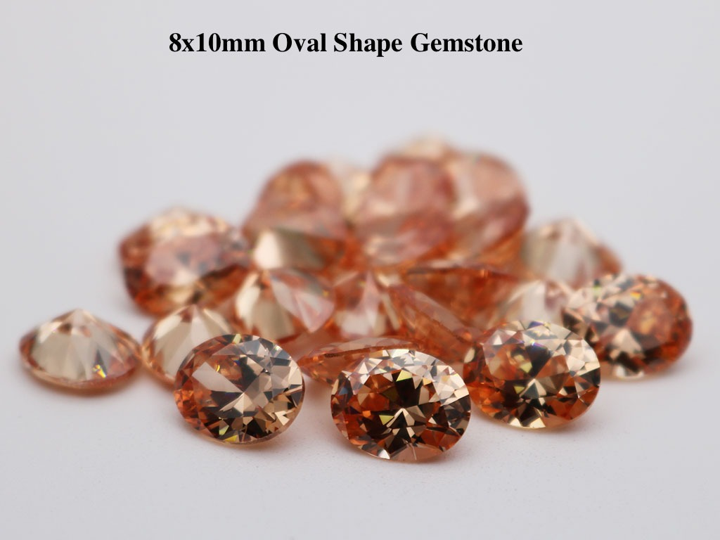 Champagne-Color-Loose-Cubic-Zirconia-Oval-Shape-10x8mm-Gemstone-for-sale