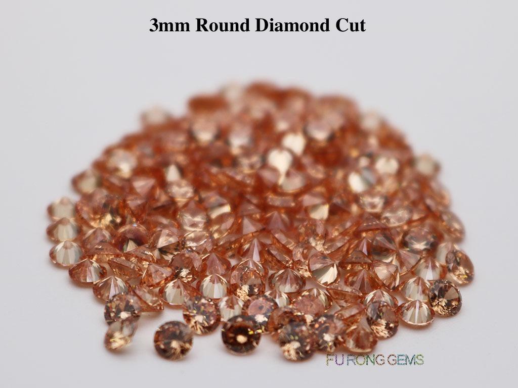 Champagne-Cubic-Zirconia-Round-Diamond-Cut-3.5mm-Gemstone-wholesale