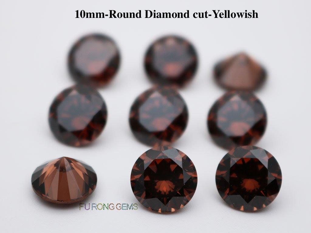 Coffee-Brown-Color-Cubic-Zirconia-Round-diamond-cut-10mm-gemstones-for-sale