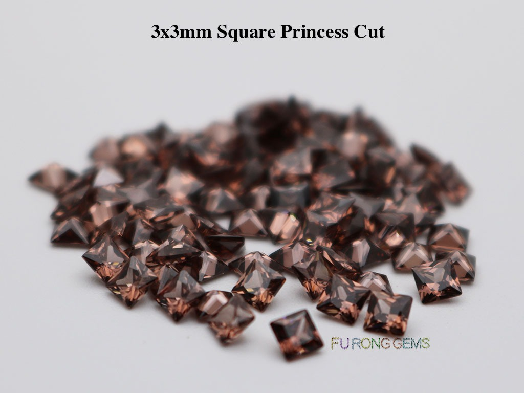 Coffee-Brown-Color-Cubic-Zirconia-Square-Princess-3x3mm-Gemstone-for-sale