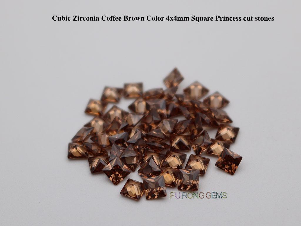 Coffee-Brown-Color-Cubic-zirconia-Square-Princess-Cut-Gemstones