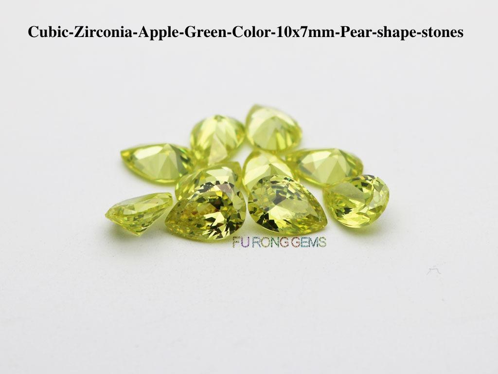 Cubic-Zirconia-Apple-Green-Color-10x7mm-Pear-shape-stones