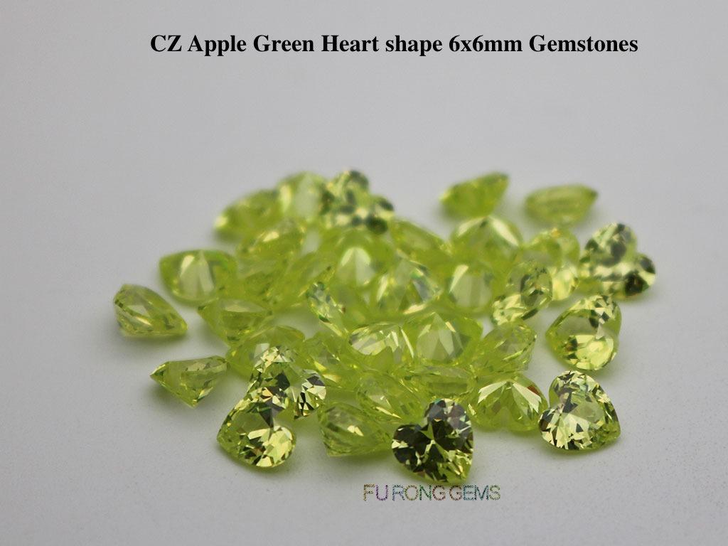 Cubic-Zirconia-Apple-Green-Color-Heart-6x6mm-Stones-wholesale