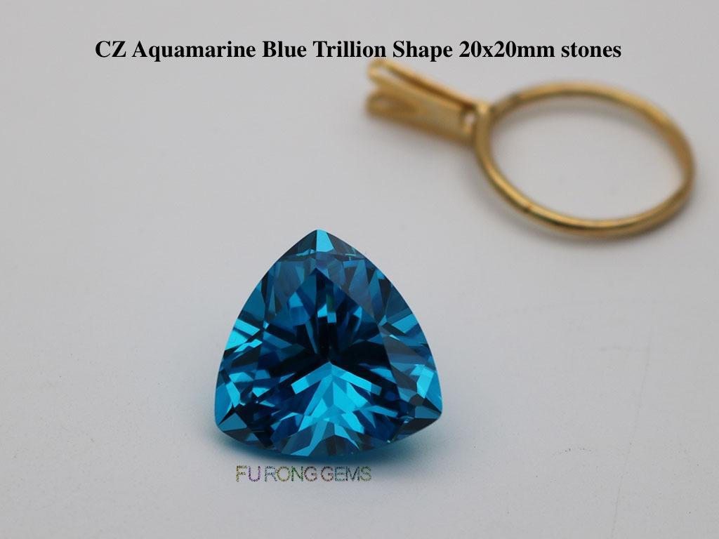 Cubic-Zirconia-Aquamarine-Blue-Color-Trillion-20x20mm-Gemstones-wholesale