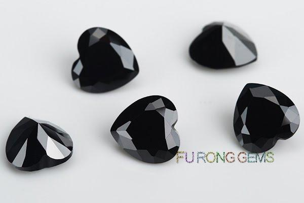 Cubic-Zirconia-Black-Color-Heart-shape-Gems-China-wholesale