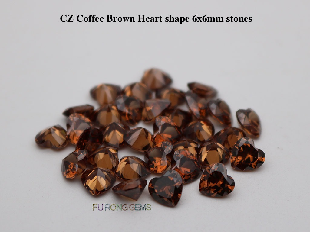 Cubic-Zirconia-Coffee-Brown-Color-Heart-Shape-6x6mm-Stones-wholesale