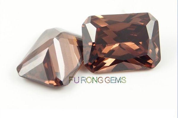 Cubic-Zirconia-Coffee-Brown-Color-Octagon-shape-Gems-China-Supplier