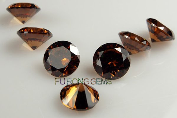 Cubic-Zirconia-Coffee-Brown-Color-Round-shape-Gems-China-wholesale