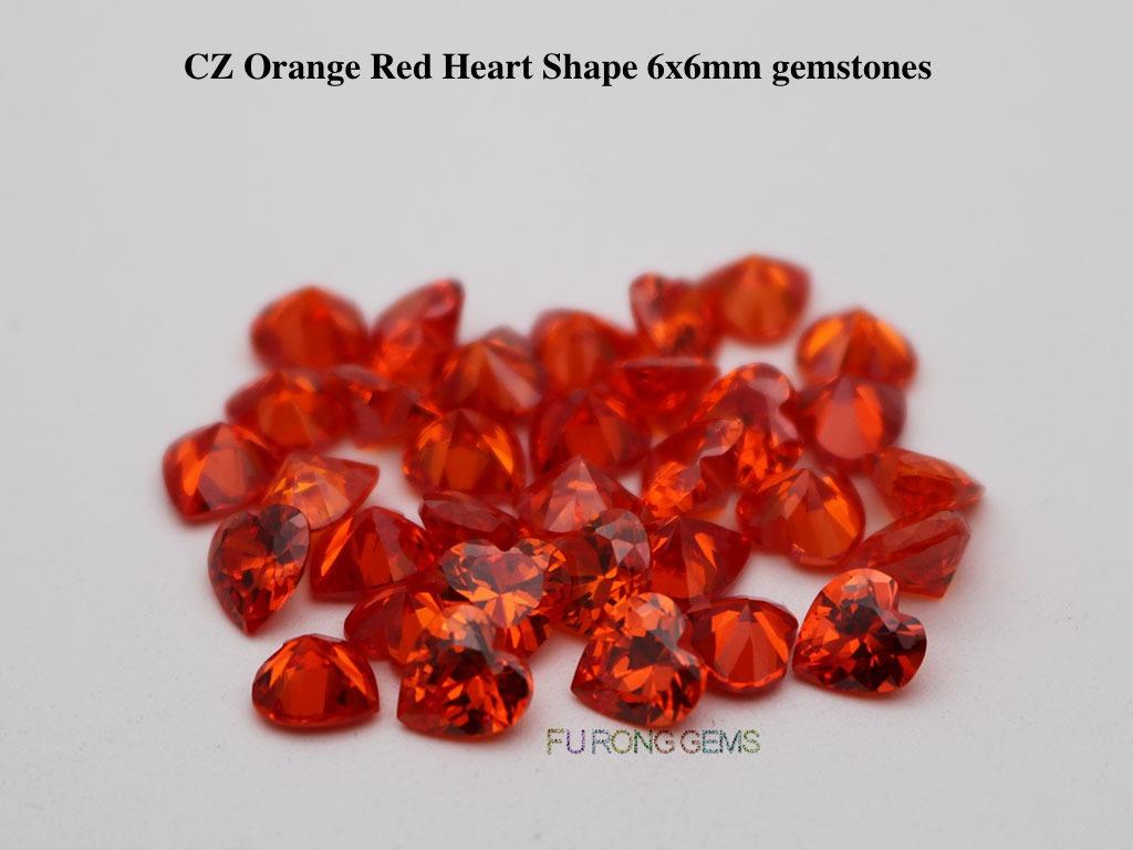Cubic-Zirconia-Orange-Color-Heart-Shape-6x6mm-Stones-wholesale
