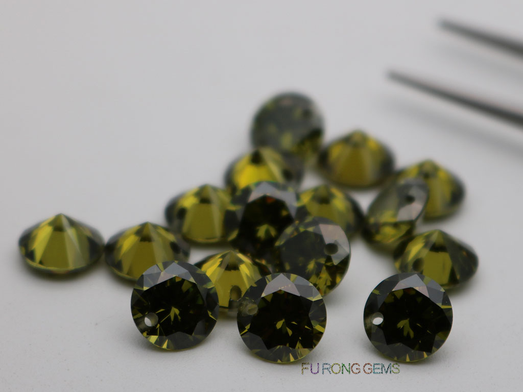 Cubic-Zirconia-Peridot-Round-Diamond-faceted-cut-8mm-drilled-hole-bead-Gemstones-wholesale