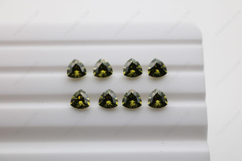 Cubic Zirconia Peridot Trillion Shape Diamond faceted cut 5x5mm stones CZ27 IMG_4878