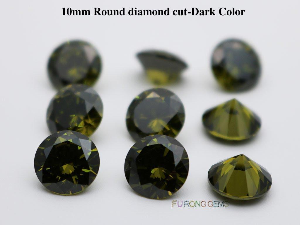 Dark-Peridot-Color-Cubic-Zirconia-Round-diamond-cut-10mm-gemstones-wholesale