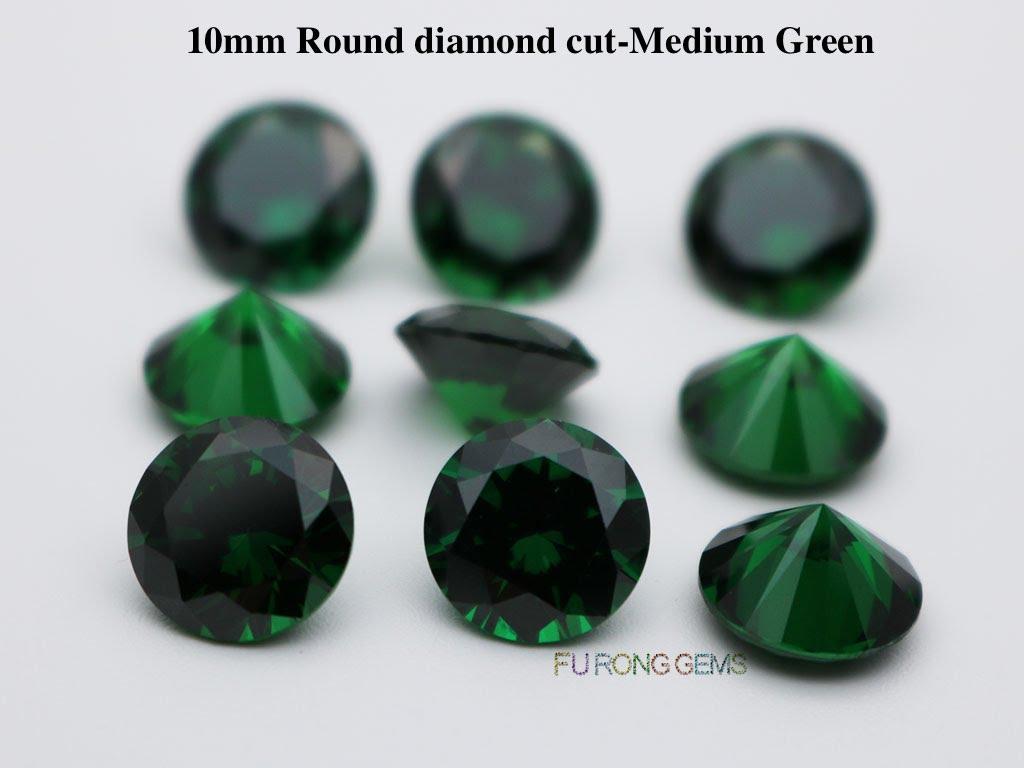 Emerald-Green-Color-Cubic-Zirconia-Round-diamond-cut-in-10mm-wholesale