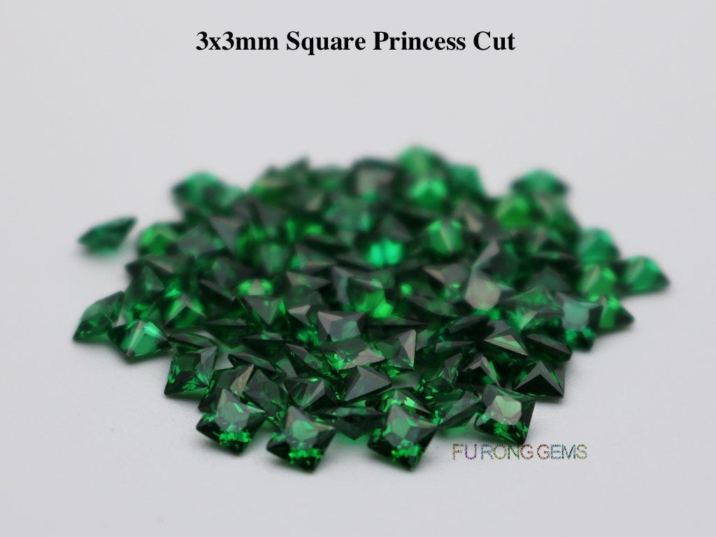 Emerald-Green-Loose-Cubic-Zirconia-Square-shape-3x3mm-gemstones-wholesale