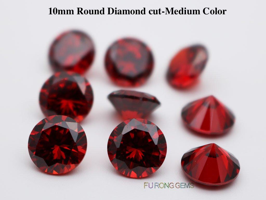 Garnet-Red-Color-Cubic-Zirconia-Round-diamond-cut-10mm-gemstones-wholesale