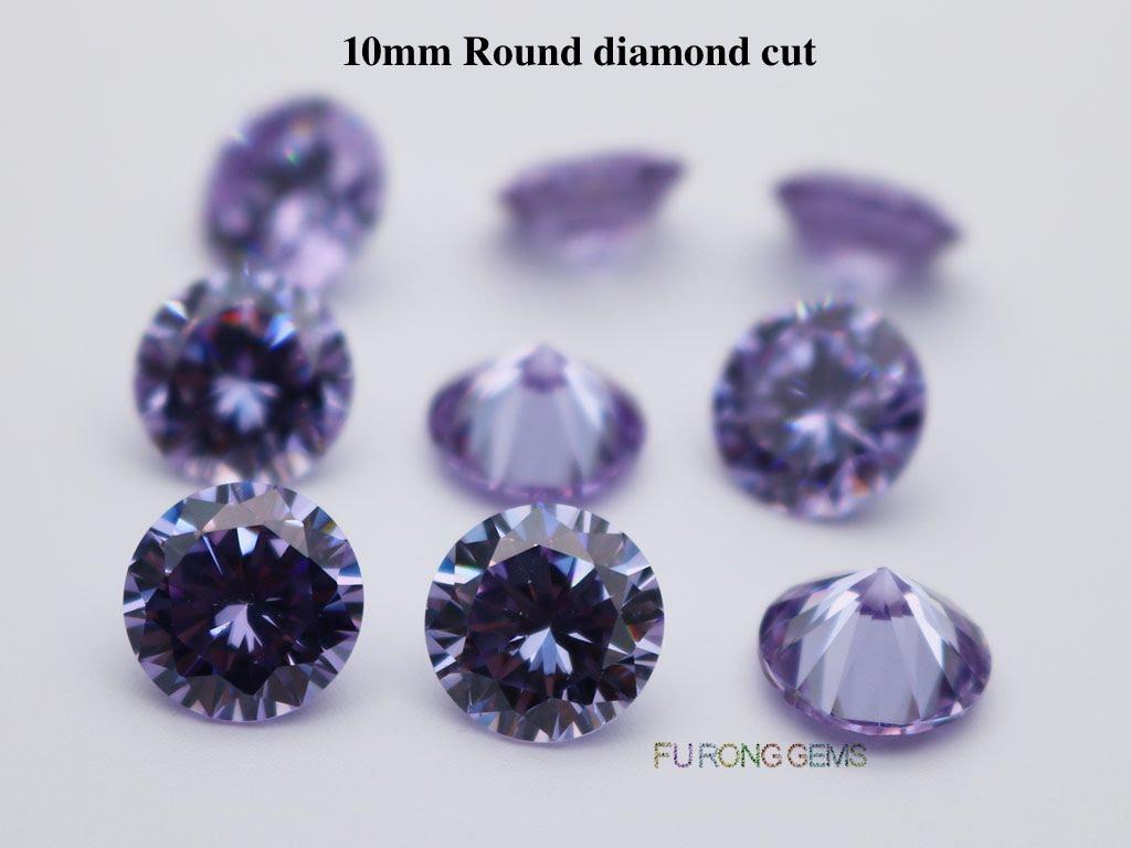 Lavender-Color-Cubic-Zirconia-Round-diamond-cut-10mm-gemstones-for-sale