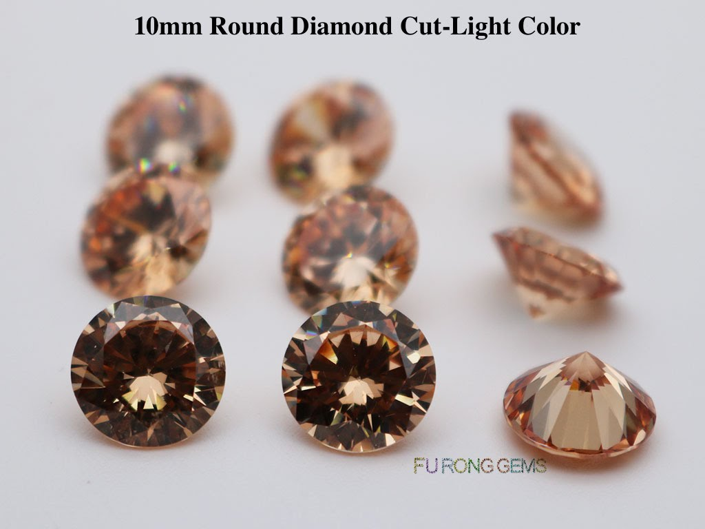 Light-Champagne-Color-Cubic-Zirconia-Round-diamond-cut-10mm-gemstones-for-sale