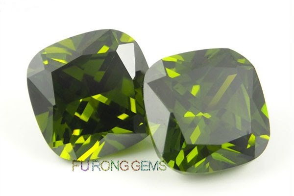 Loose-CZ-Peridot-Green-Color-Cushion-Shape-Gemstones