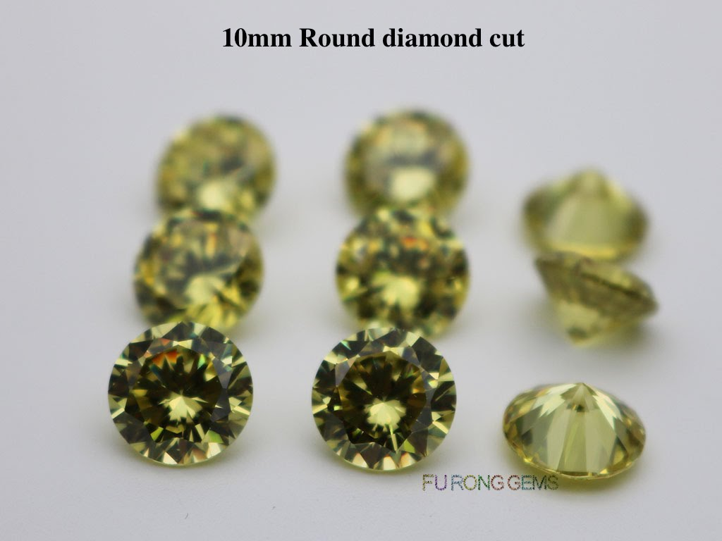 Olive-Yellow-Color-Cubic-Zirconia-Round-diamond-cut-10mm-gemstones-for-sale