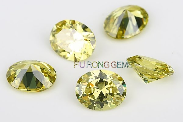 Olive-Yellow-Color-Oval-shape-Cubic-Zirconia-Gems-China-wholesale