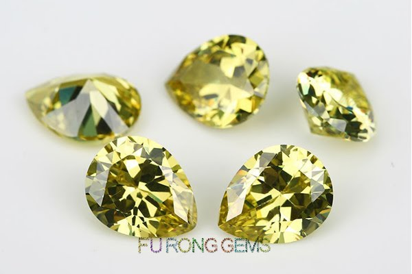 Olive-Yellow-Color-Pear-shape-Cubic-Zirconia-Gems-China-Suppliers