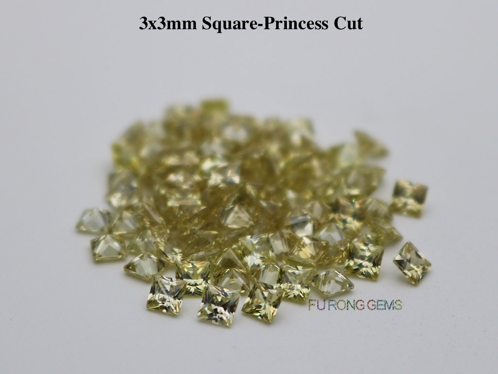 Olive-yellow-Cubic-Zirconia-Square-Princess-3x3mm-Gemstone-for-sale