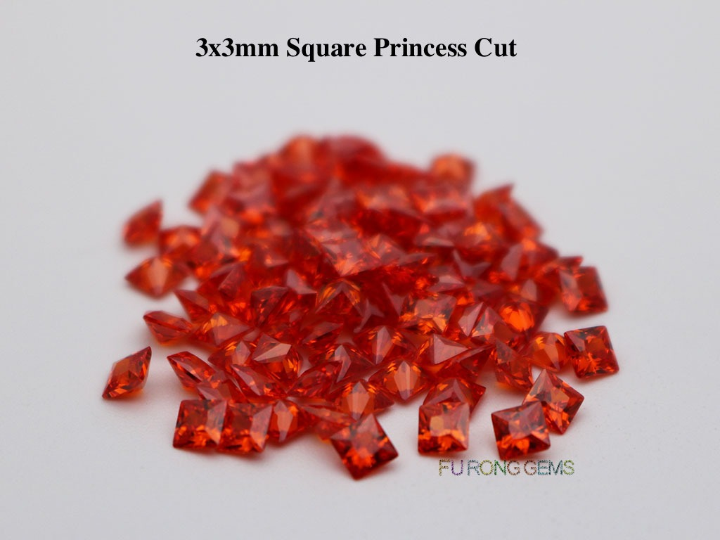 Orange-Red-Color-Cubic-Zirconia-Square-Princess-3x3mm-Gemstone-for-sale